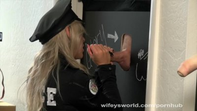 Busty Cop Trys Glory Hole And