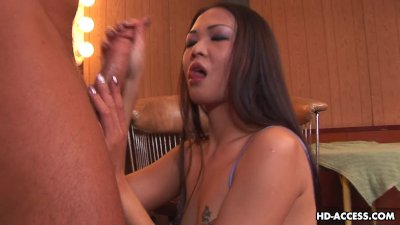 Asian hooker sucking and getting spit treated