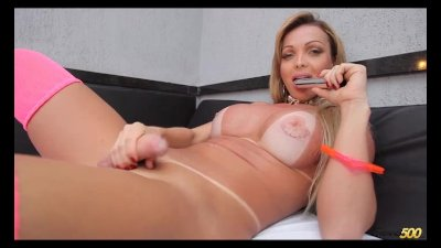Solo Tranny Jerks her cock for you