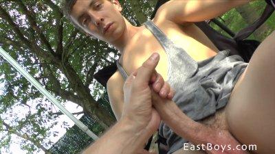 Big Dick Getting Handjob in Garden