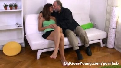 Alyona is a sexy young woman sitting on the lap of her older sexy man