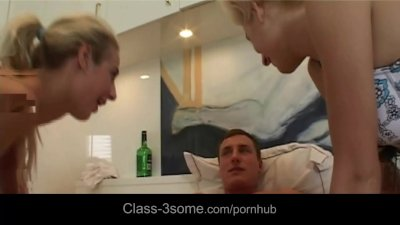 Two party young blondes tied boy for threesome after party fantasy