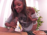 Hot black masseuse takes on a big black cock from a customer