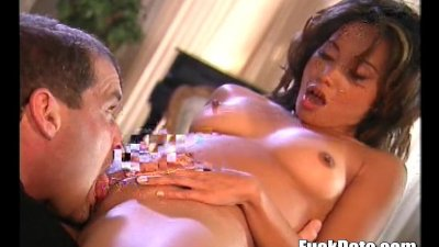 Asian slut getting her wet pussy rocked and she cums