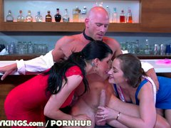 Reality Kings   Two hot chicks fuck bartender