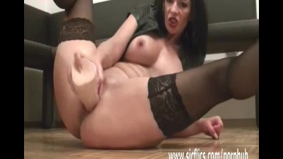 Fisting her greedy pussy with a giant fist dildo
