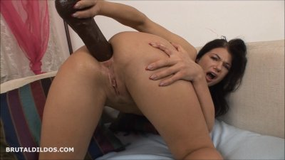 Babe fucking her nice ass hard with a big brutal dildo in HD