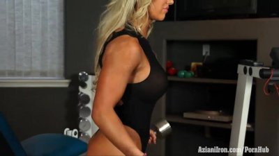 Naked workout with Megan Avalon getting all hot