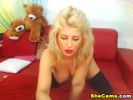 Huge Tits Blonde Shemale Jerking her Big Cock