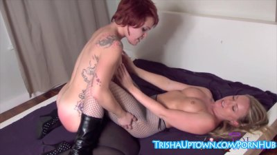 Trisha Uptown Spanks & Tickles Friend For Being a Slut!