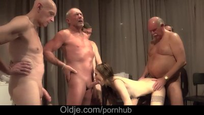 Teen slut is getting down with group of grandpas