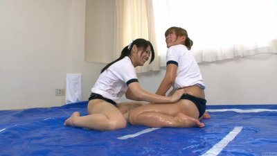 Subtitled Japanese amateur sumo oil wrestling stripping game