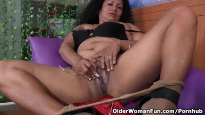 Latina milf Sharon peels off h