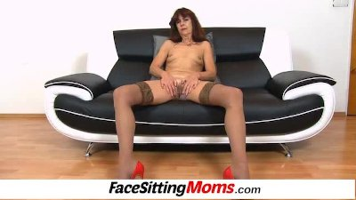 Granny Lada wears stockings and facesitting a dude
