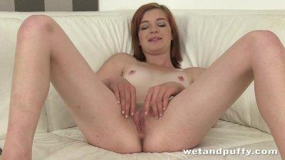 Cute slut teasing her lovely shaved pussy