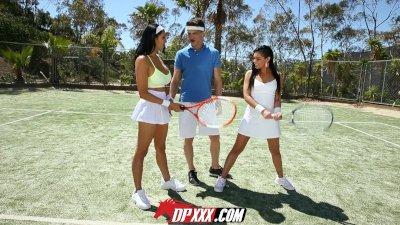 Digital Playground - Tennis Coach Gets Balls Licked by 2 Latinas