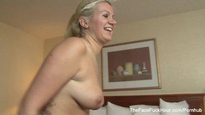 Blonde Slut Gets Face Fucked