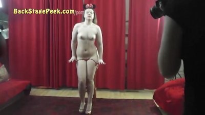 Cute CHUBBY 19yo girl poses with sexy boy at the CASTING