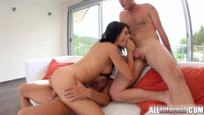 AllInternal Cum filled Billie Star in steamy hot threesome