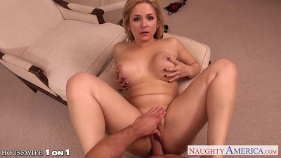 Blonde housewife Sarah Vandella take cock in POV