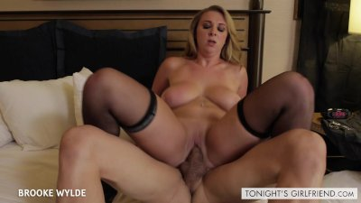 Stockinged Brooke Wylde suck and ride a big schlong