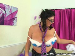Preview 8 of British Milf Lulu Lush Plays With Her Big Tits And Lickable Pussy