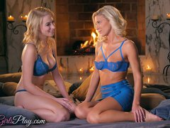 Preview 2 of When Girls Play - Two Hot Blonde Lesbians By The Fire