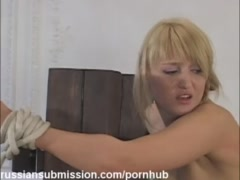 Russian blonde wife needs to submit to the wild demands of a horny officer