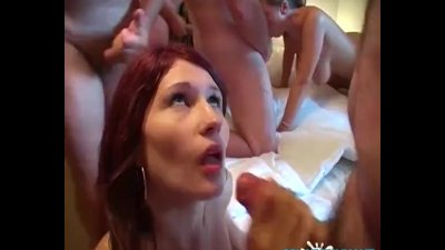 Gangbang party with amateur Lexi and big-titted pornstar Alexis May