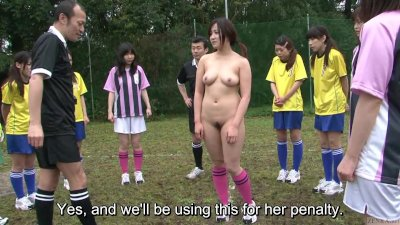 : Subtitled ENF CMNF Japanese nudist soccer penalty game HD