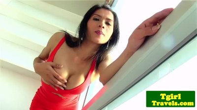 Ladyboy jerking cock and showing ass off