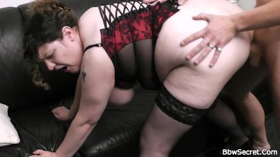 She finds him fucking fat bitch from behind