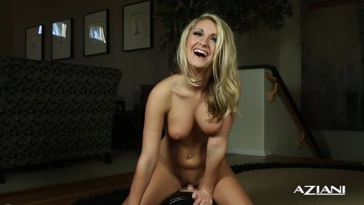 Sexy blonde rides the Sybian nude