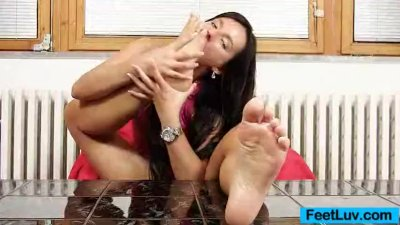 Thin cutie Sharon licks her bare foot