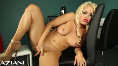 Hot blonde Nikki strips off he