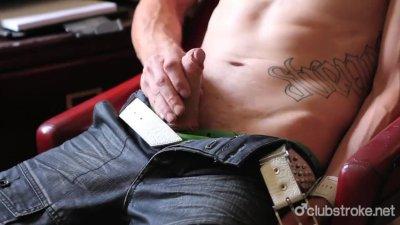 Tattooed Straight Guy Chase Masturbating