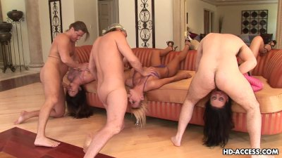 Triple throating action with nasty babes sucking