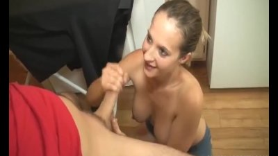 Topless girlfriend handjob