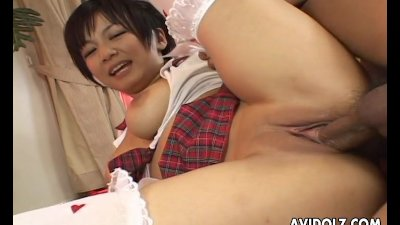 Asian school babe sucking and fucking the dudes