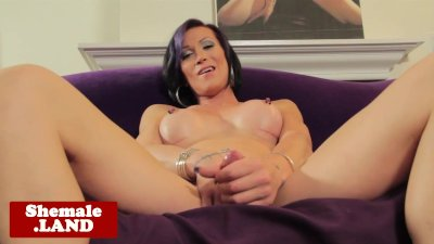 Busty alt pierced tgirl solo strip and jerk