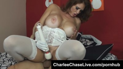 Cock hungry big tit MILF Charlee Chase takes a hard cock wearing gloves