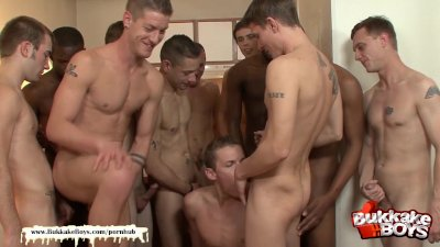 Cute bukkake gets his asshole fucked by a bunch of studs - Bukkake boys