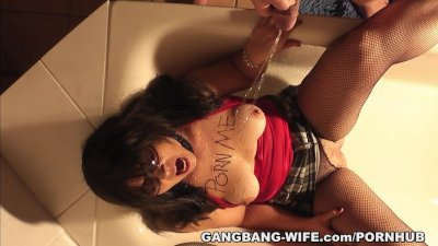 Hot wife pissed on by plenty of men