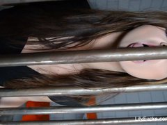 Bad girl Lily Carter plays with her pussy in jail