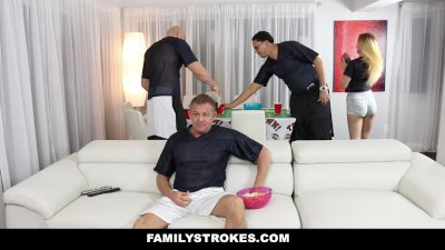 FamilyStrokes - Teens Fucks Pervy Uncle During SuperBowl