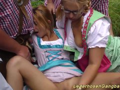 Preview 6 of German Outdoor Gangbang Orgy