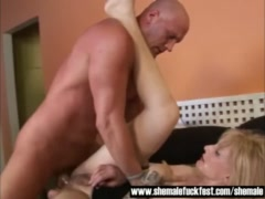 Older Tranny gets her asshole rammed by a Stud   Shemale Fuck Fest