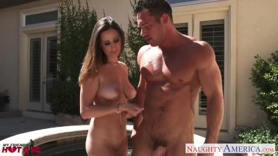 Sexual Ashley Adams swallow jizz outdoors