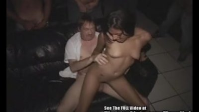 Petite Latina Gang Bang Fuck Fest in Porno Theater!