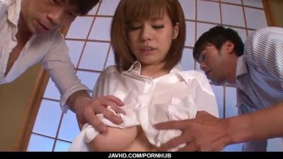 Huge tits, Airu Oshima, porn play on two massive cocks